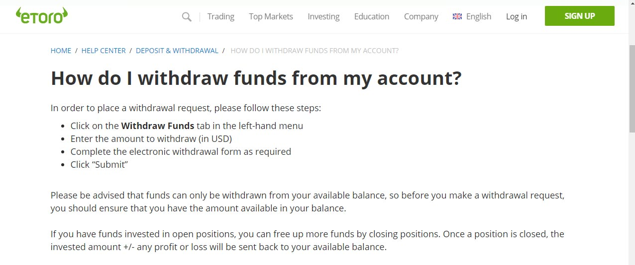 eToro review - how to withdraw funds
