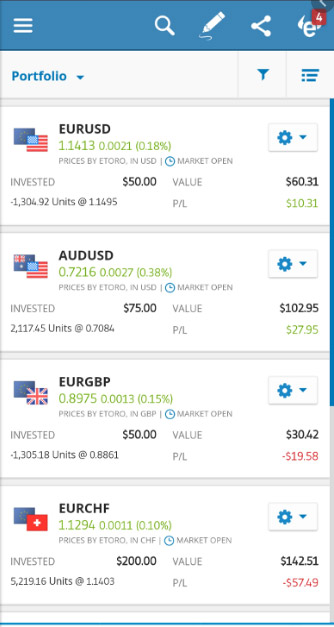 eToro review - Mobile trading platform sample